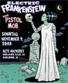 BRIDE OF FRANKENTSEIN WITH SKULL. Poster art for ELECTRIC FRANKENSTEIN. Art Direction by Sal Canzonieri. November 2008.